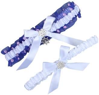 Keepsake VEPYCLY Blue Satin Wedding Bridal Lace Garter Set Toss Tradition Vintage