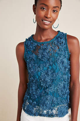 Blue Tassel Demeter Lace Sleeveless Top