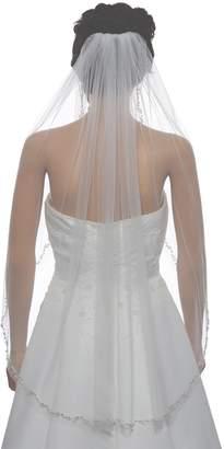 Crystal Pearl Venus Jewelry 1T 1 Tier Offset Flower Vine Edge Veil - V503