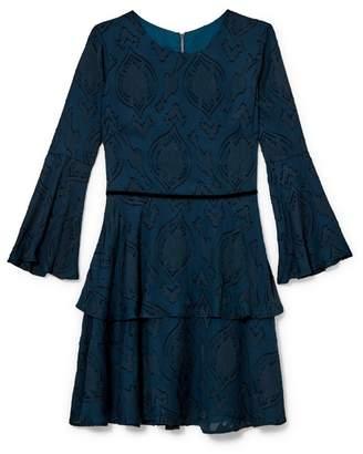 Vince Camuto Burnout Bell-sleeve Dress