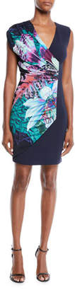 Roberto Cavalli V-Neck Sleeveless Ruched Exotic Floral-Print Jersey Dress