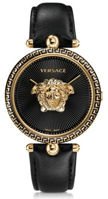 Women's Versace Palazzo Empire Leather Strap Watch, 39Mm