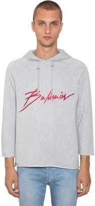 Balmain Logo Print Cotton Sweatshirt Hoodie