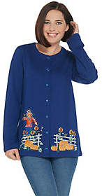 Factory Quacker Snap Button Front Knit Cardiganwith Fall Motif