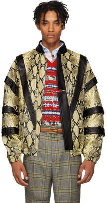 Gucci Yellow and Black Faux-Python Bomber Jacket