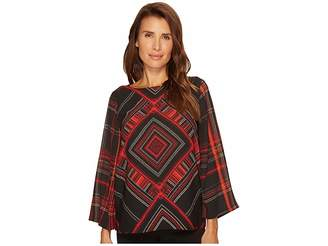 Vince Camuto Diamond Plaid Blouse Women's Blouse