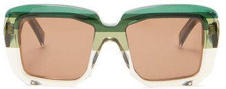 Marni Rothko Square Acetate Sunglasses - Womens - Green Multi