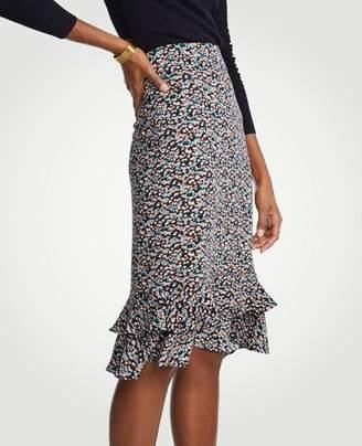 Ann Taylor Floral Ruffle Pencil Skirt