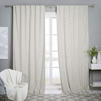 west elm Cotton Textured Weave Curtain + Blackout Lining - Ivory