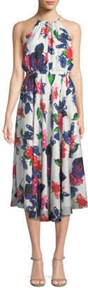 Milly Casey Floral-Print Silk Halter Dress