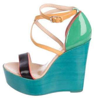 Christian Louboutin Patent Leather d'Orsay Wedges