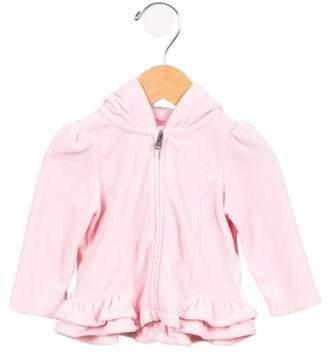 Ralph Lauren Girls' Velour Zip-Up Sweatshirt