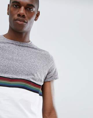 Asos DESIGN t-shirt with contrast yoke and rainbow tape in interest fabric