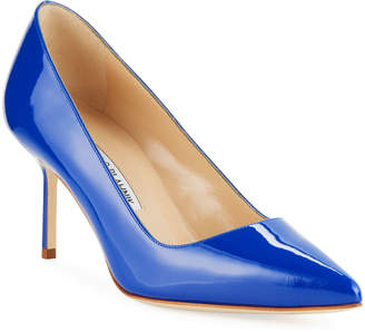 Manolo Blahnik Patent Leather Mid-Heel Pumps