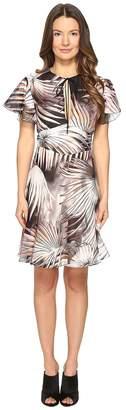 Just Cavalli Tie-Dye Palm Print Flutter Sleeve Dress Women's Dress