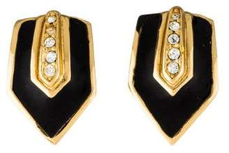 Christian Dior Enamel & Crystal Clip-On Earrings