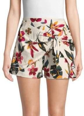 Lea & Viola Tie-Front Floral Shorts