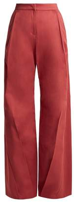Palmer//harding - High Rise Wide Leg Cotton Trousers - Womens - Pink