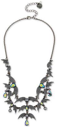 "Betsey Johnson Hematite-Tone Crystal & Bead Bat Statement Necklace, 16"" + 3"" extender"