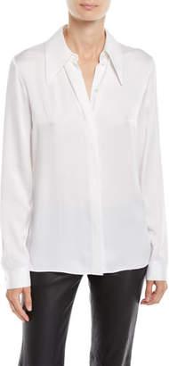 Michael Kors Long-Sleeve Button-Front Satin Charmeuse Classic Shirt