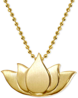 "Alex Woo Lotus Blossom 16"" Pendant Necklace in 14k Gold"