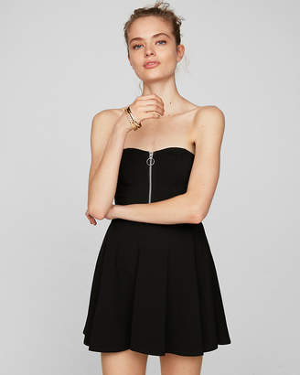 Express Strapless Zip Front Skort Fit And Flare Dress