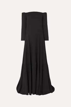 Valentino Tiered Off-the-shoulder Silk-cady Gown - Black