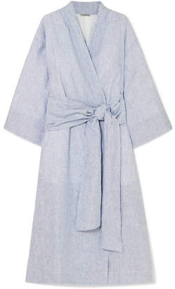 Isabella Collection Three Graces London Striped Linen Robe - Blue