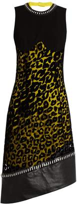 Leopard-print tulle and crepe dress MUGLER ORqbWU
