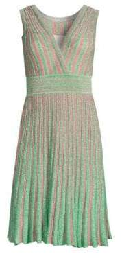 Missoni Operato Stripe Metallic Lamé A-Line Dress