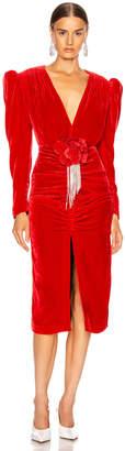 Marianna Senchina SENCHINA Velvet V Neck Midi Dress in Red | FWRD