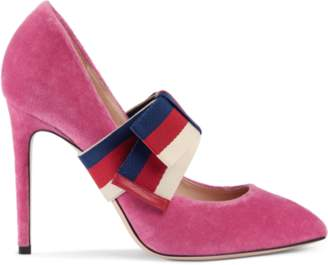 Gucci Velvet pump with removable Sylvie bow
