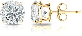 Diamond Wish GIA Certified 18k Yellow Gold Round Diamond Stud Earrings 4-Prong (4.00 cttw, H-I Color, VS2-SI1 Clarity)