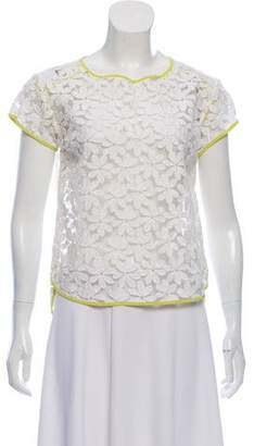 WHIT Floral Lace Short Sleeve Top