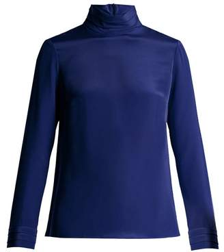 Goat Eve Silk Crepe Blouse - Womens - Blue