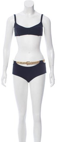 Michael Kors Belted Two-Piece Swimsuit