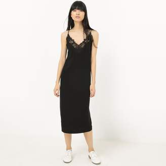 Suncoo Midi Dress with Lace and Shoestring Straps