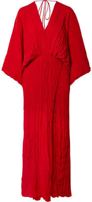 Juan Carlos Obando Plissé Silk Crepe De Chine Gown - Red