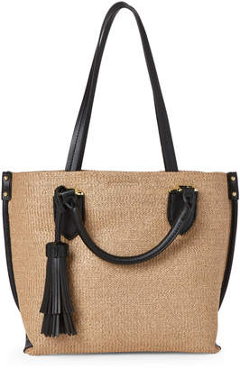 London Fog Natural & Black Lucy Straw Satchel