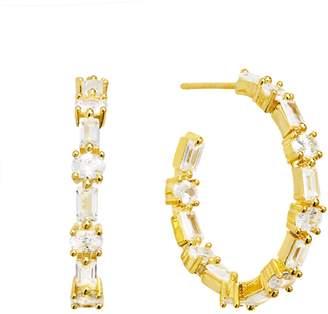 Fallon Ferris Wheel Gold Pave Hoop Earrings