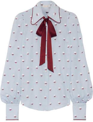 Marc Jacobs - Pussy-bow Fil Coupé Cotton Blouse - Sky blue $425 thestylecure.com