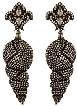 Aishwarya Diamond silver and gold alloy shell shaped drop earrings