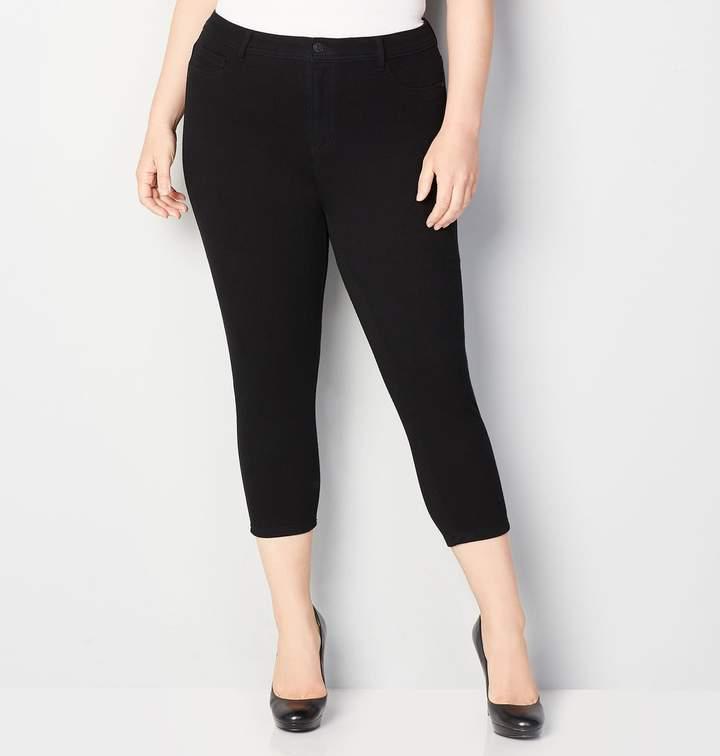 5-Pocket Knit Denim Capri in Black
