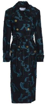 Sonia Rykiel Double-Breasted Jacquard And Fil Coupé Garbardine Coat