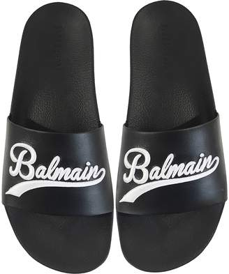 Balmain Black Leather Calypso Men's Slide Sandals