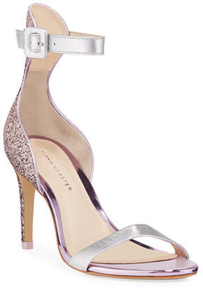 Sophia Webster Nicole Naked Mid-Heel Glitter Ankle-Wrap Sandals