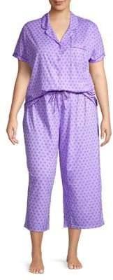 Karen Neuburger Plus 2-Piece Button Front Shirt & Capri Pants Pajama Set