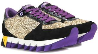 Dolce & Gabbana Glitter, suede and patent leather sneakers