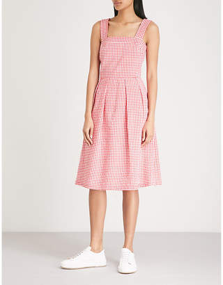Claudie Pierlot Pleated gingham cotton-blend dress