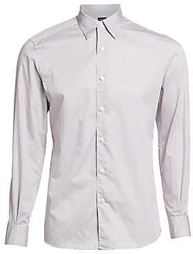 Ermenegildo Zegna Men's Mini Check Print Button-Down Shirt